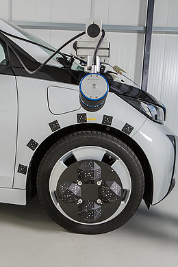 The WheelWatch system and the high-speed camera by Mikrotron is mounted on the car.