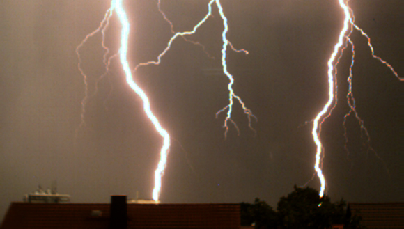 Lightning, strike, slow motion, recording, high-speed video, camera